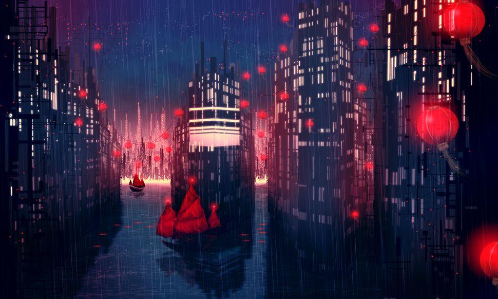 Подборка пейзажей из аниме-17